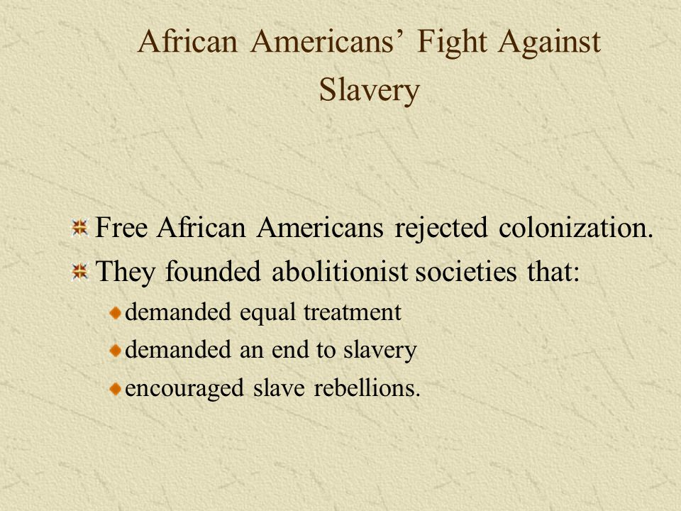 African Americans' Fight Against Slavery