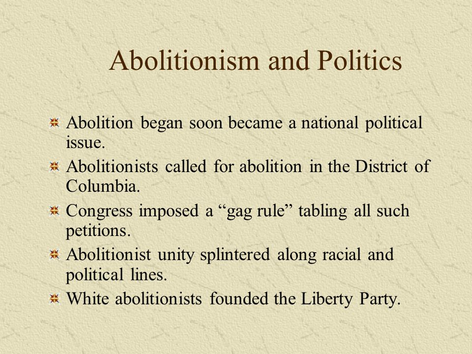 Abolitionism and Politics