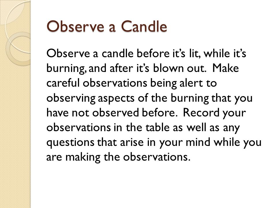 Observe a Candle