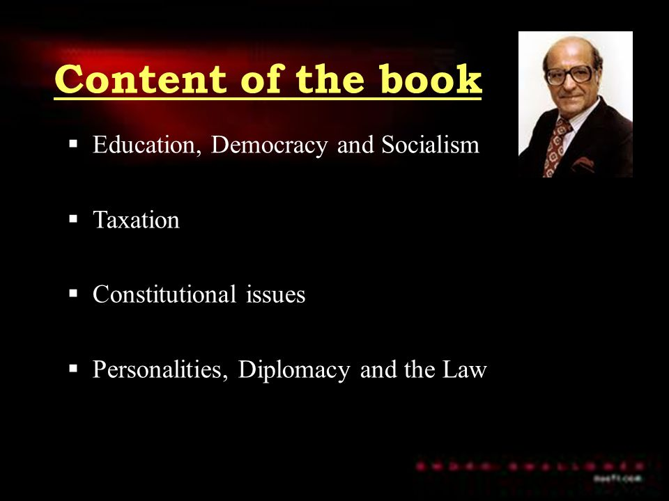 Content of the book Education, Democracy and Socialism Taxation