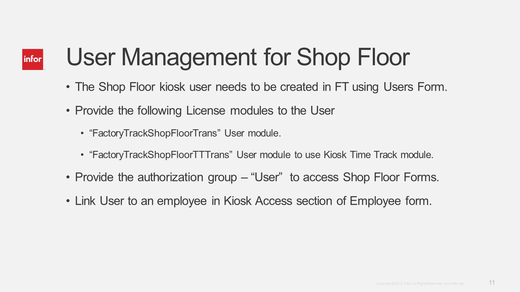 User Management for Shop Floor
