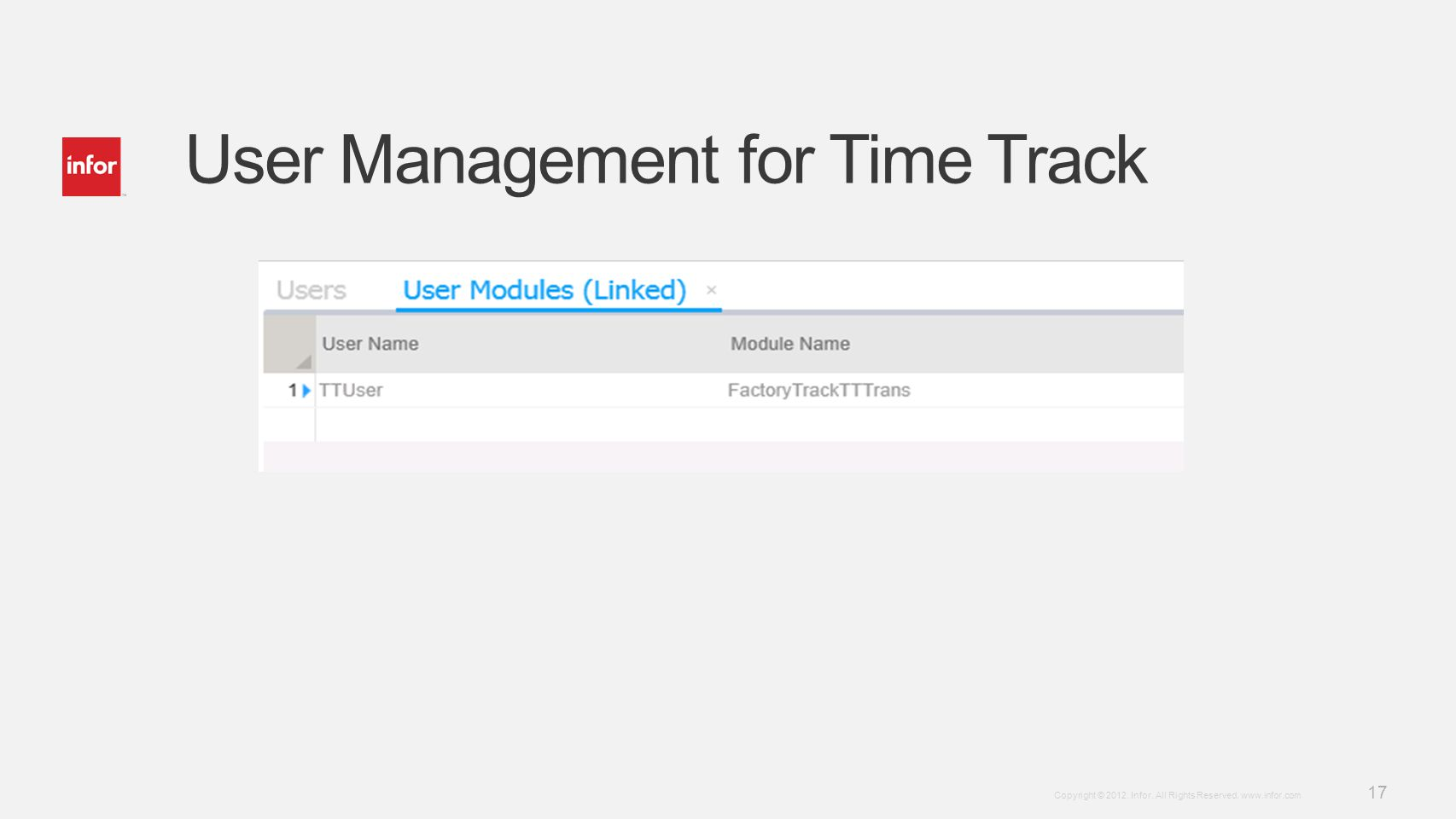User Management for Time Track