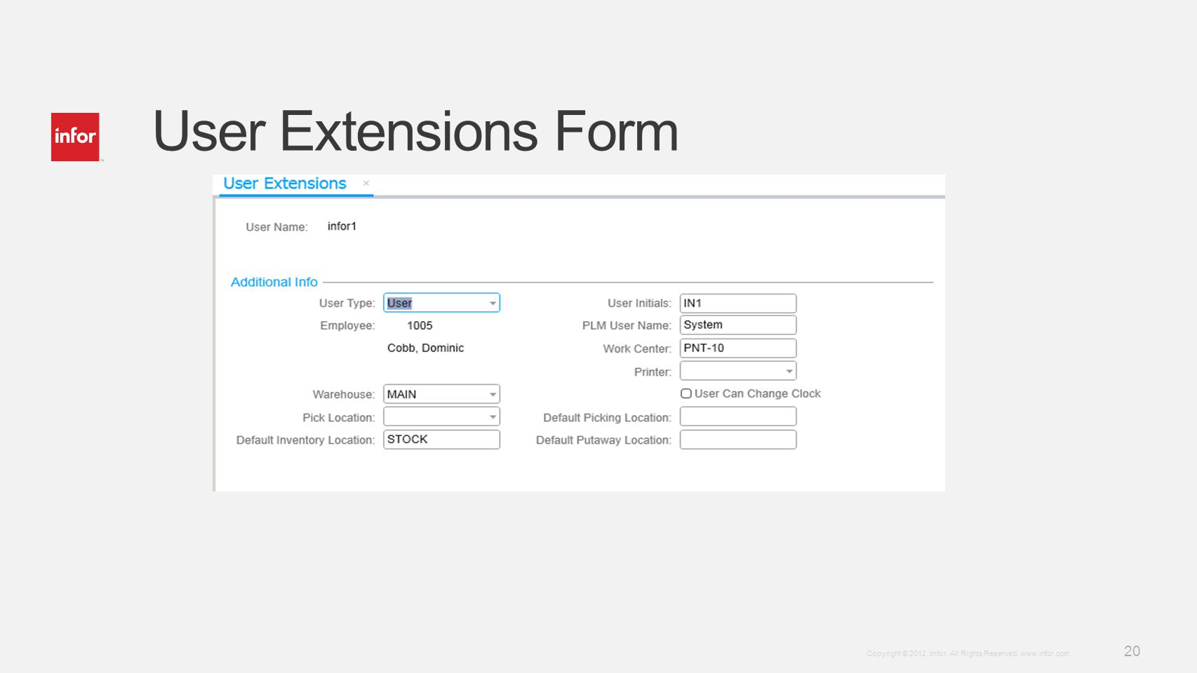 User Extensions Form