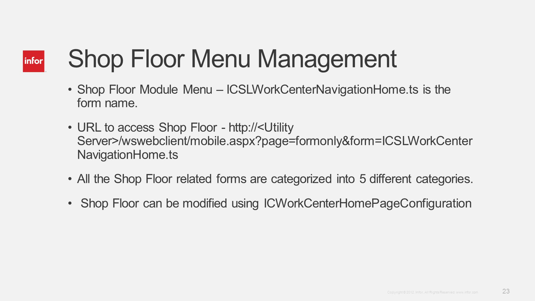 Shop Floor Menu Management