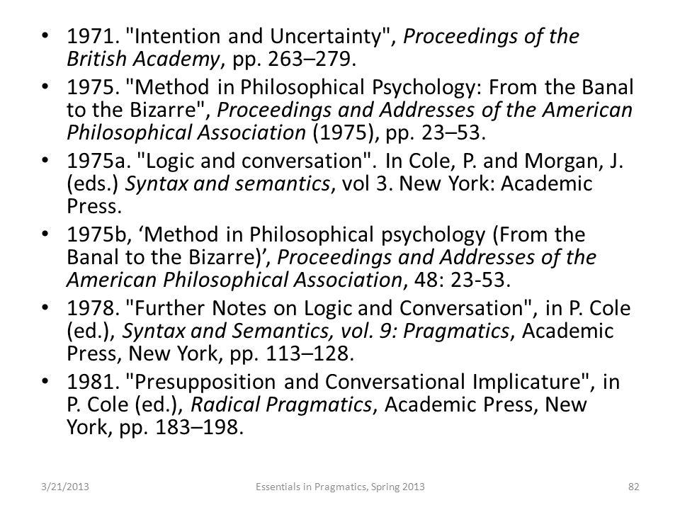 Essentials in Pragmatics, Spring 2013