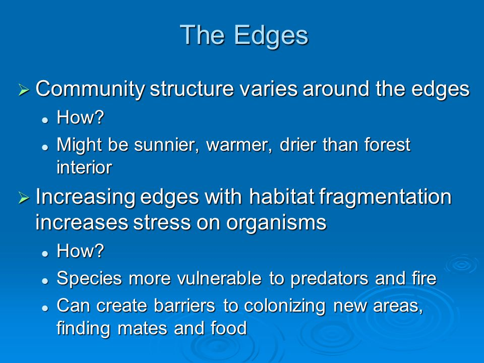 The Edges Community structure varies around the edges