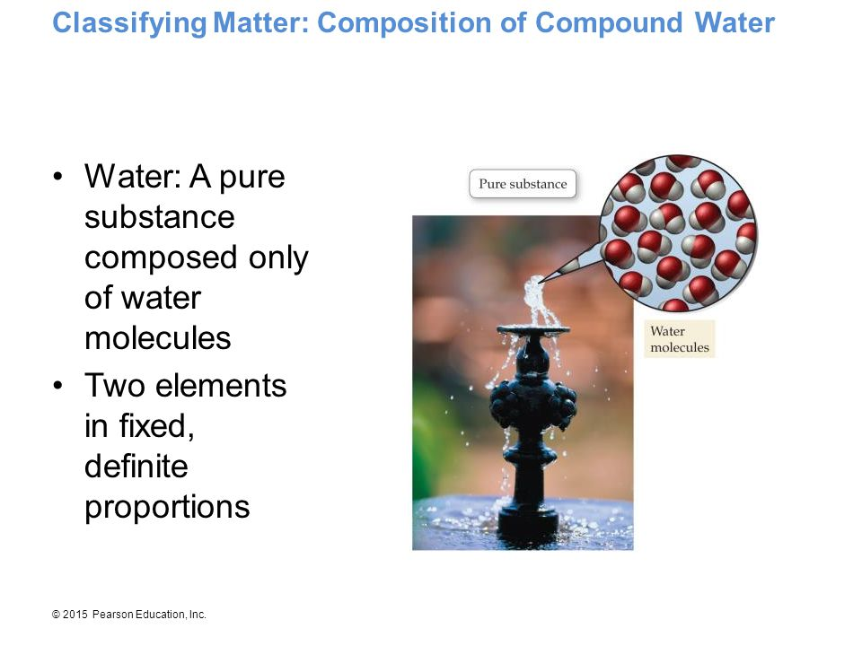 Water: A pure substance composed only of water molecules