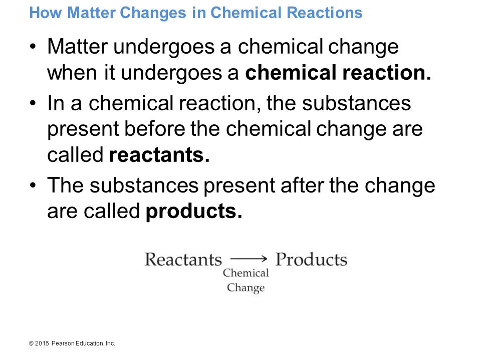 The substances present after the change are called products.