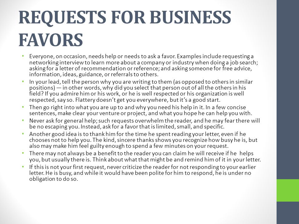 REQUESTS FOR BUSINESS FAVORS
