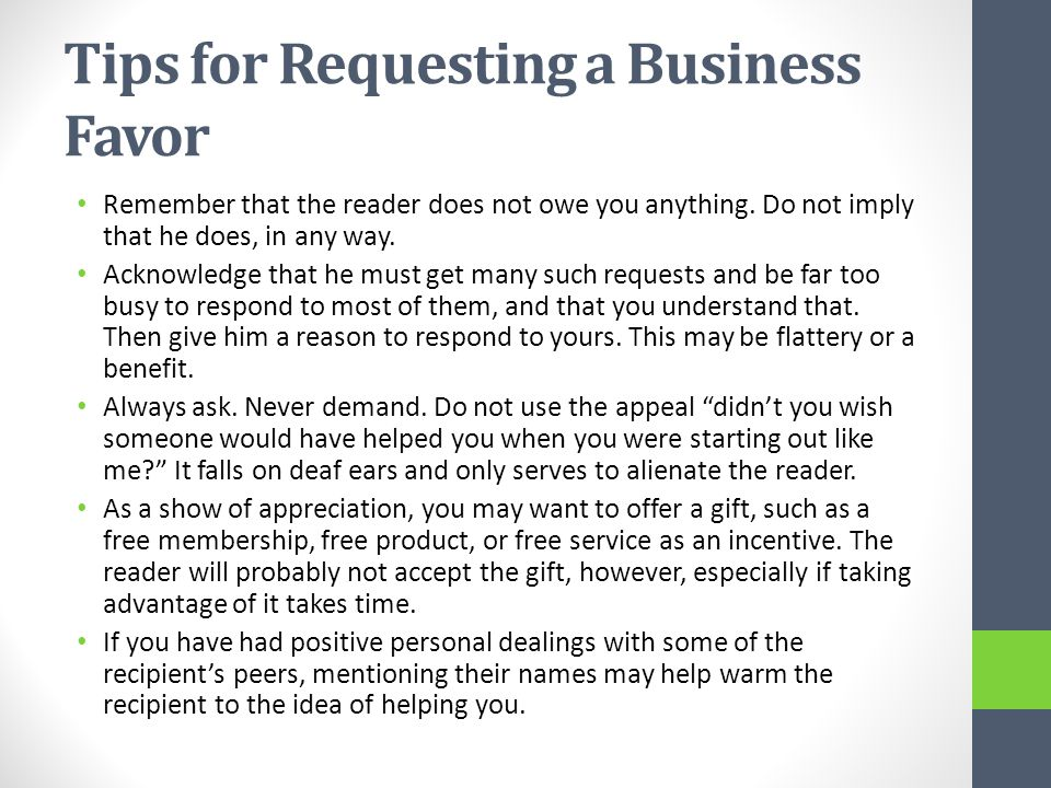Tips for Requesting a Business Favor