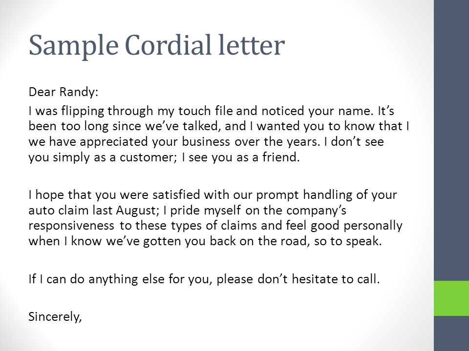 Sample Cordial letter