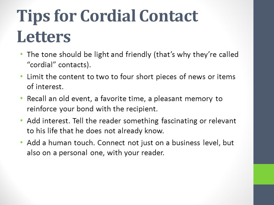 Tips for Cordial Contact Letters
