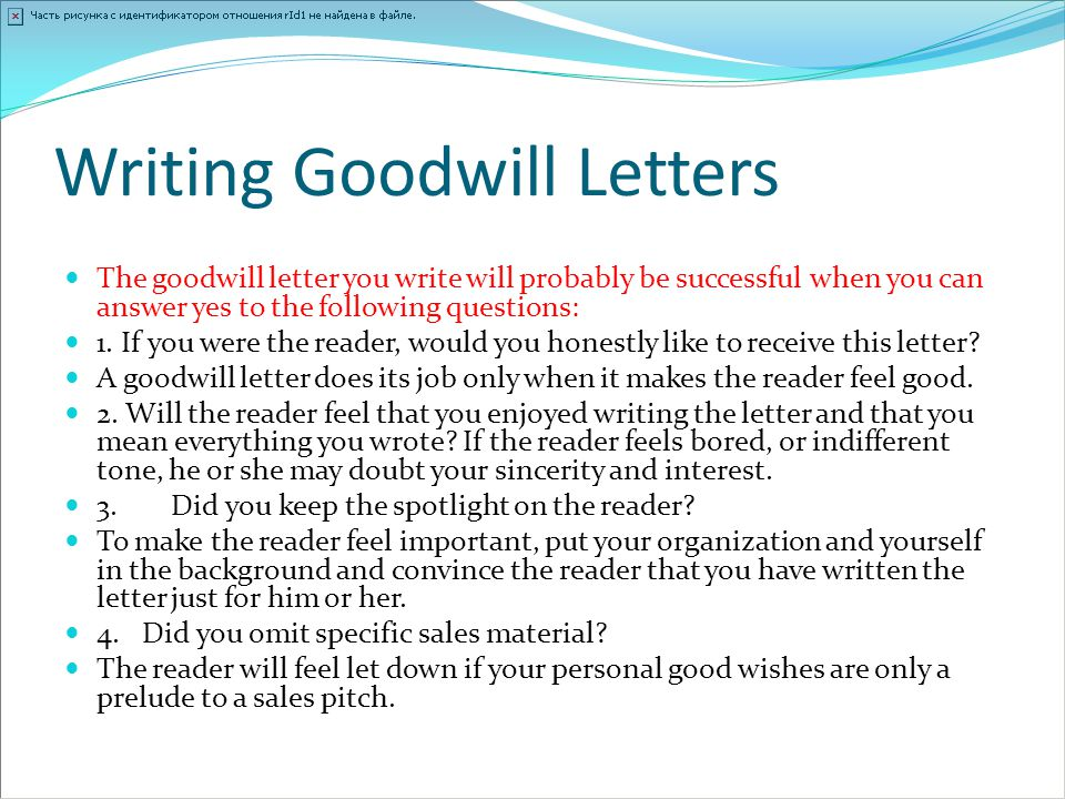 Writing Goodwill Letters