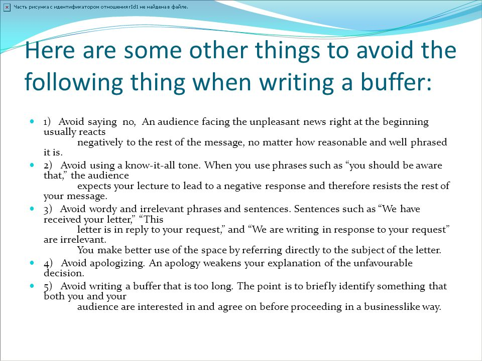Here are some other things to avoid the following thing when writing a buffer: