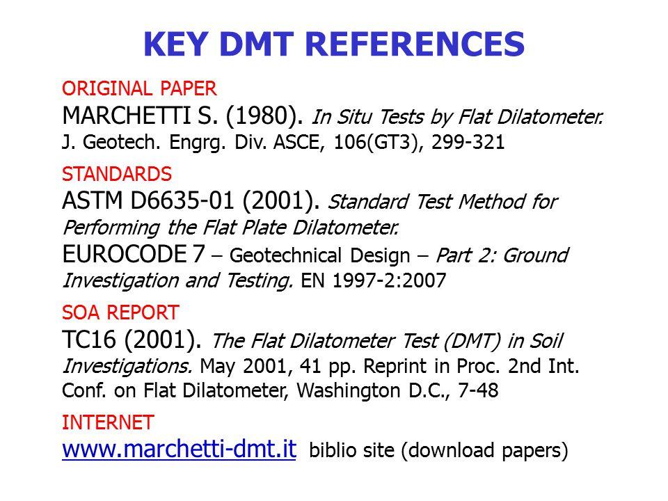 KEY DMT REFERENCES ORIGINAL PAPER. MARCHETTI S. (1980). In Situ Tests by Flat Dilatometer. J. Geotech. Engrg. Div. ASCE, 106(GT3), 299-321.