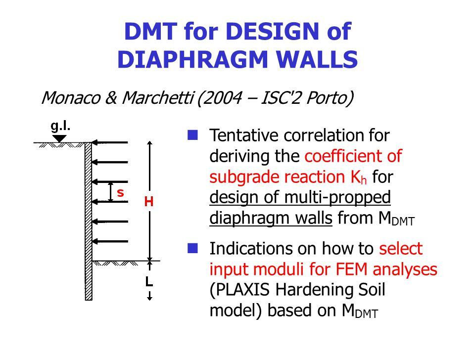 DMT for DESIGN of DIAPHRAGM WALLS