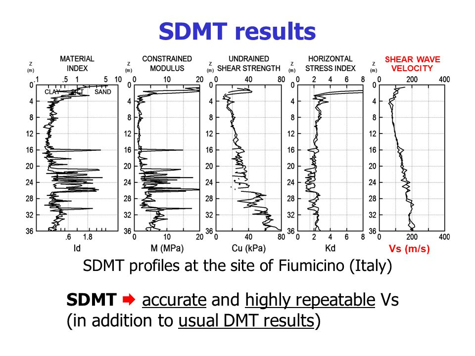 SDMT profiles at the site of Fiumicino (Italy)