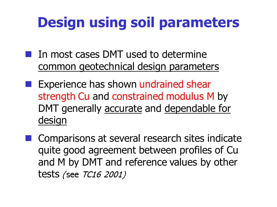 The flat dilatometer test dmt and recent developments for Soil quality parameters