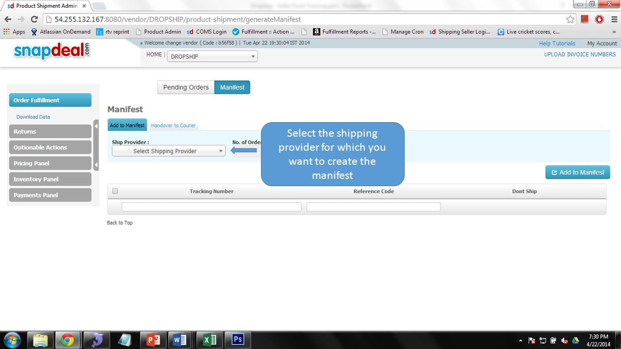 Select the shipping provider for which you want to create the manifest