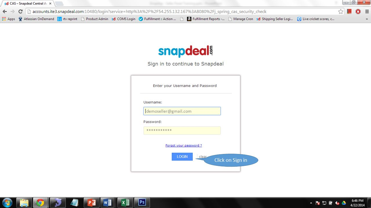 demoseller@gmail.com *********** Click on Sign in