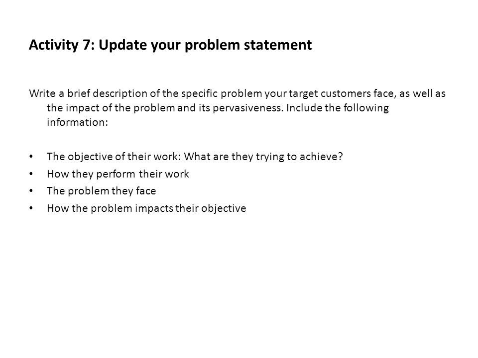 Activity 7: Update your problem statement