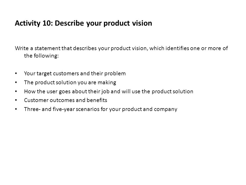 Activity 10: Describe your product vision