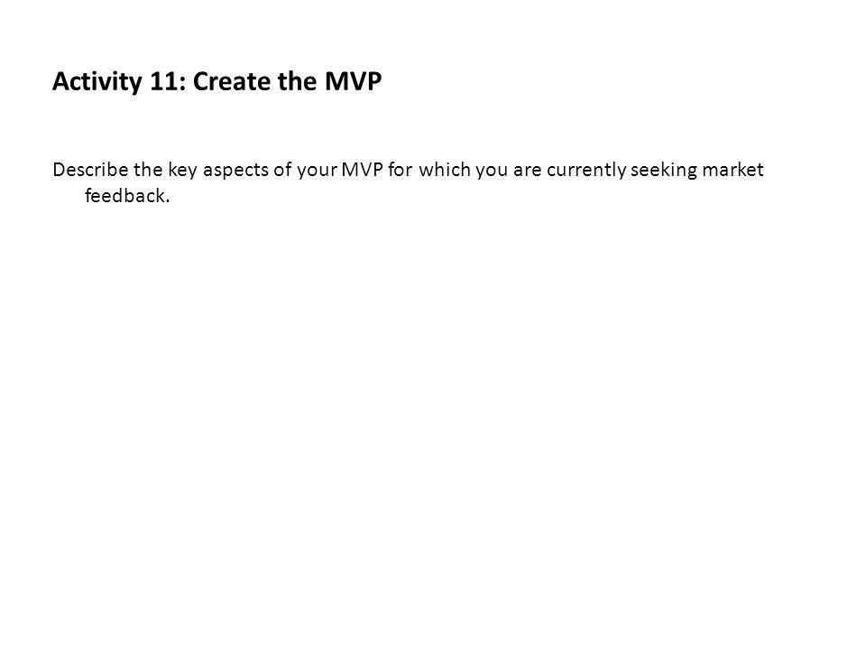 Activity 11: Create the MVP