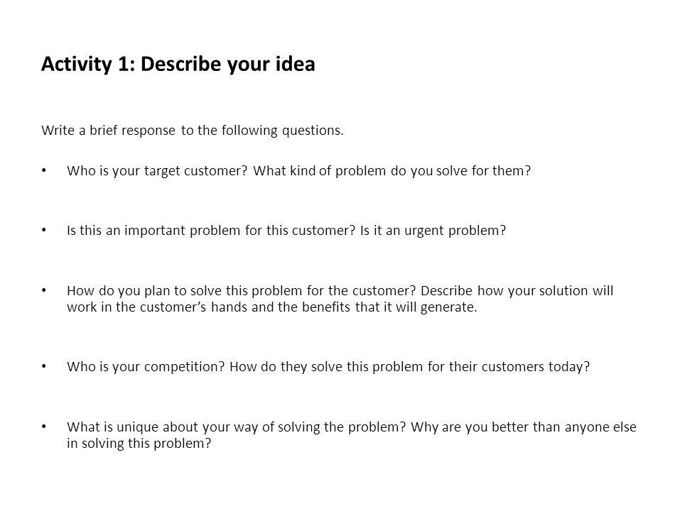 Activity 1: Describe your idea