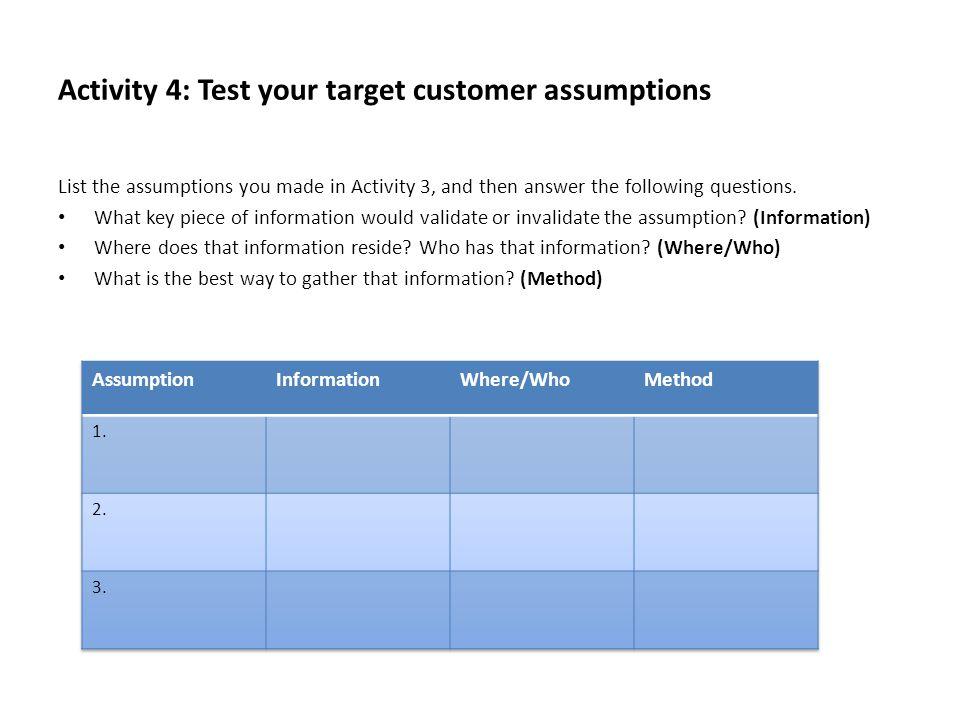 Activity 4: Test your target customer assumptions
