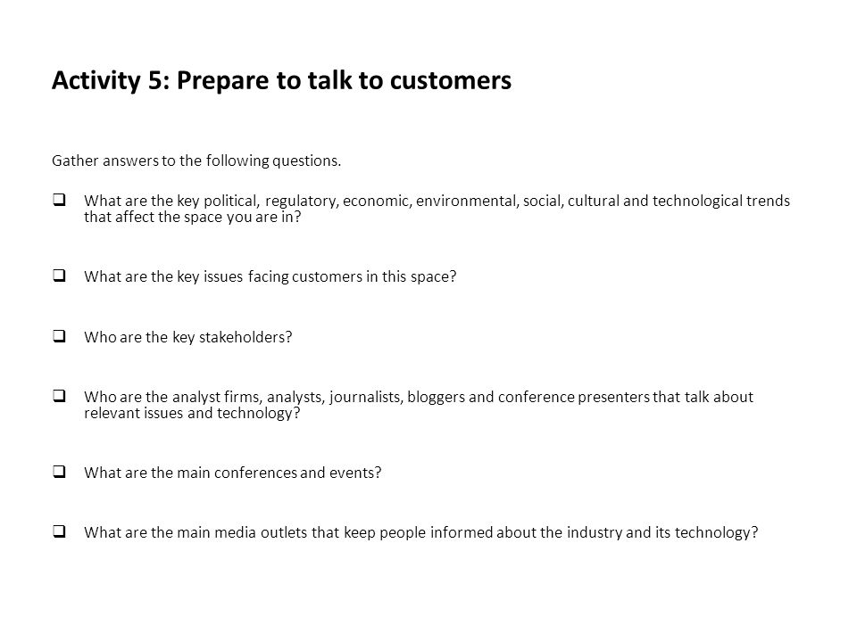 Activity 5: Prepare to talk to customers