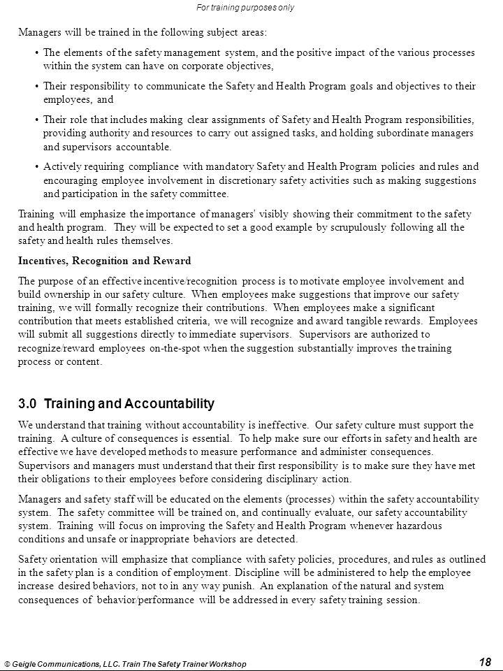 3.0 Training and Accountability