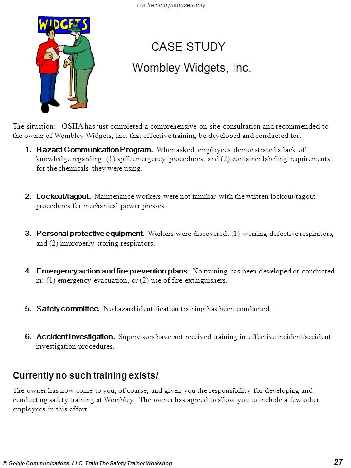 CASE STUDY Wombley Widgets, Inc. Currently no such training exists!