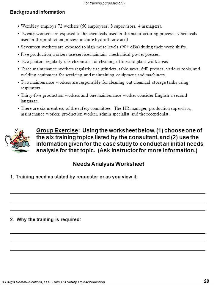 Needs Analysis Worksheet