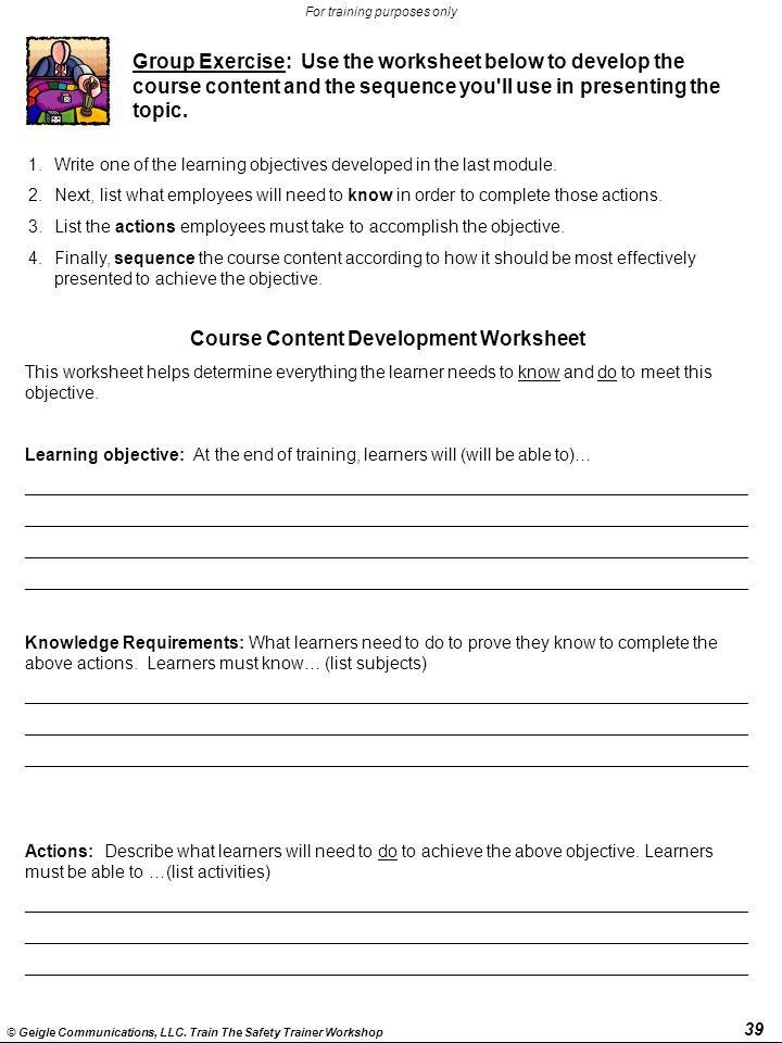 Course Content Development Worksheet