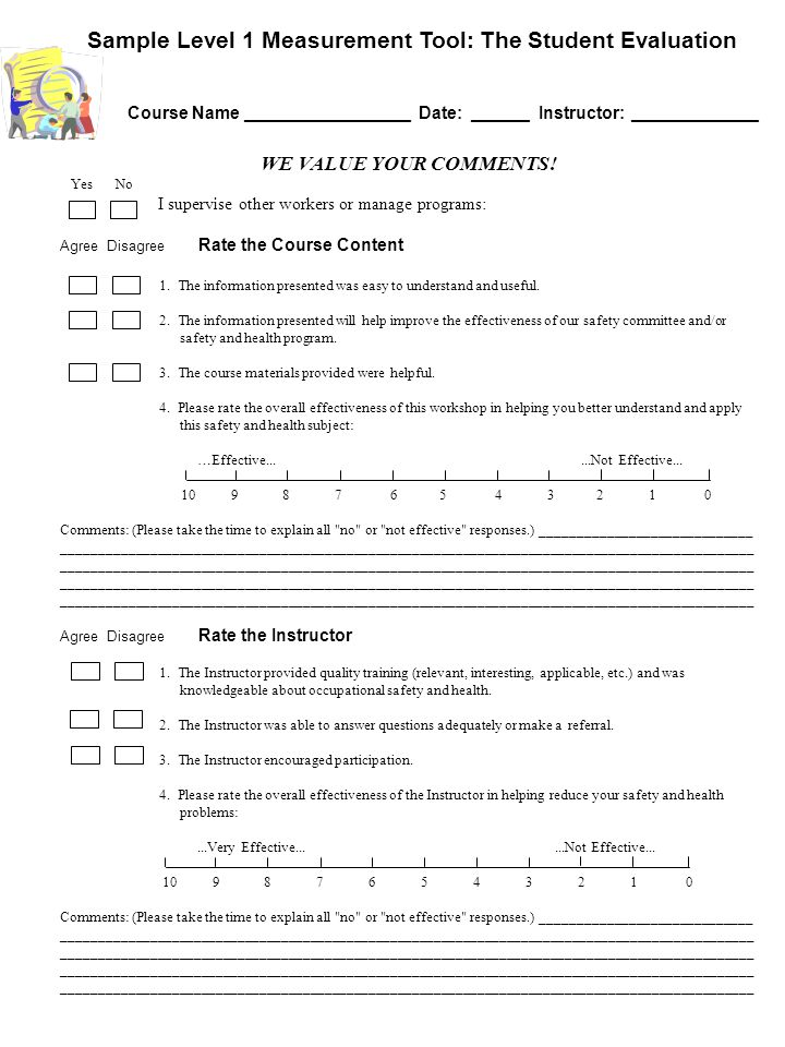 Sample Level 1 Measurement Tool: The Student Evaluation