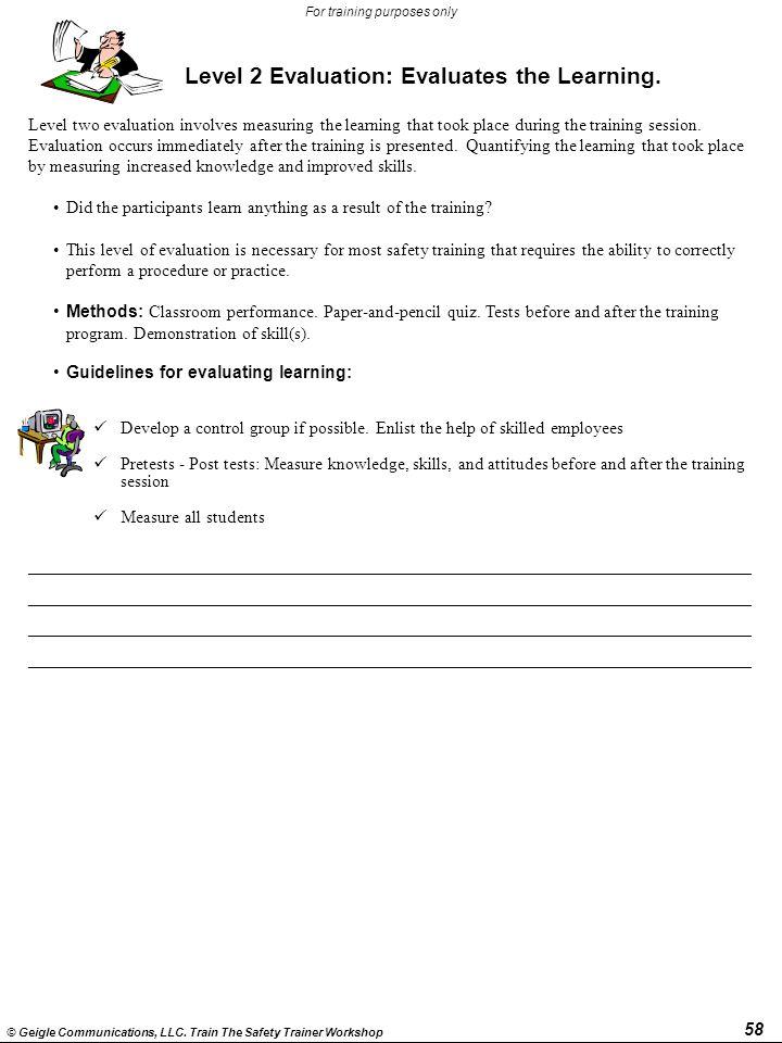 Level 2 Evaluation: Evaluates the Learning.