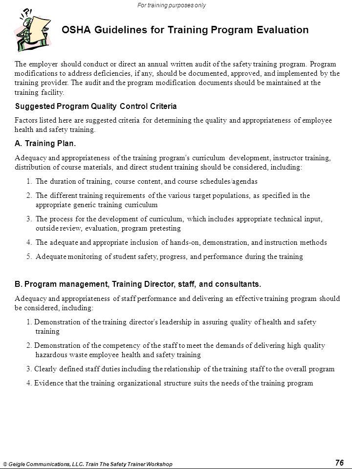 OSHA Guidelines for Training Program Evaluation