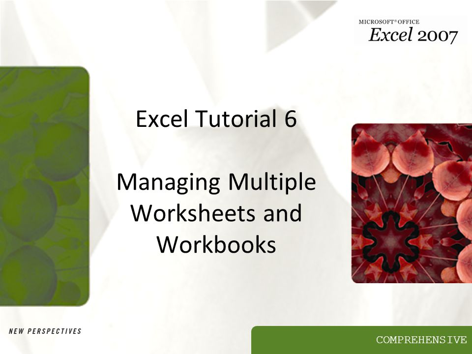 Excel Tutorial 6 Managing Multiple Worksheets and Workbooks