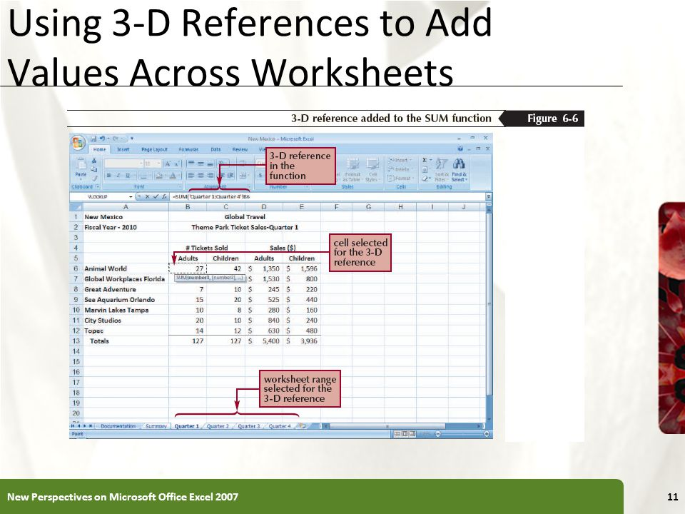 Using 3-D References to Add Values Across Worksheets