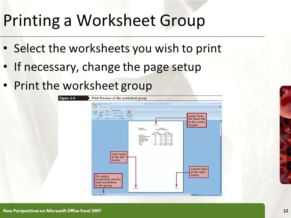 Printing a Worksheet Group