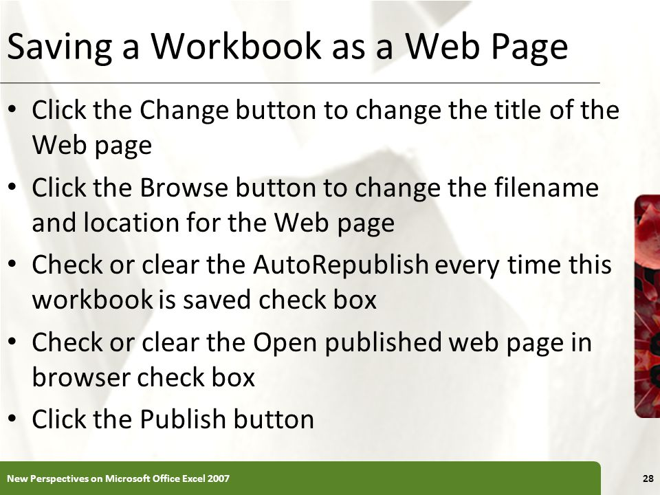 Saving a Workbook as a Web Page