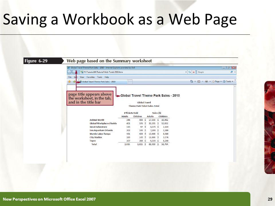 Saving a Workbook as a Web Page