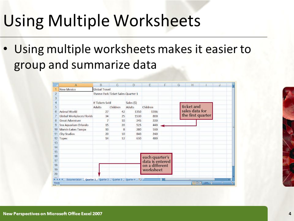 Using Multiple Worksheets