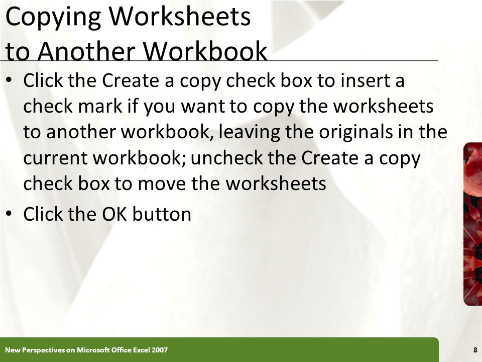Copying Worksheets to Another Workbook