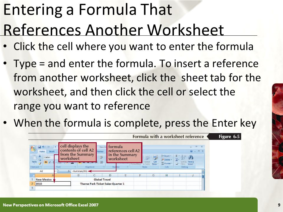 Entering a Formula That References Another Worksheet