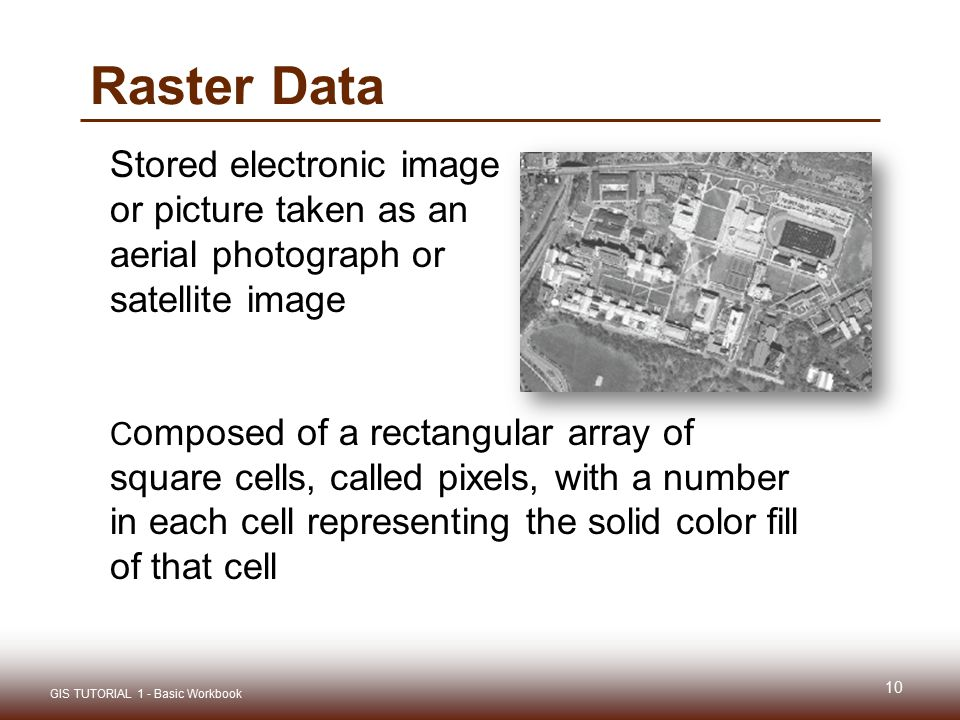 Raster Data Stored electronic image or picture taken as an aerial photograph or satellite image.