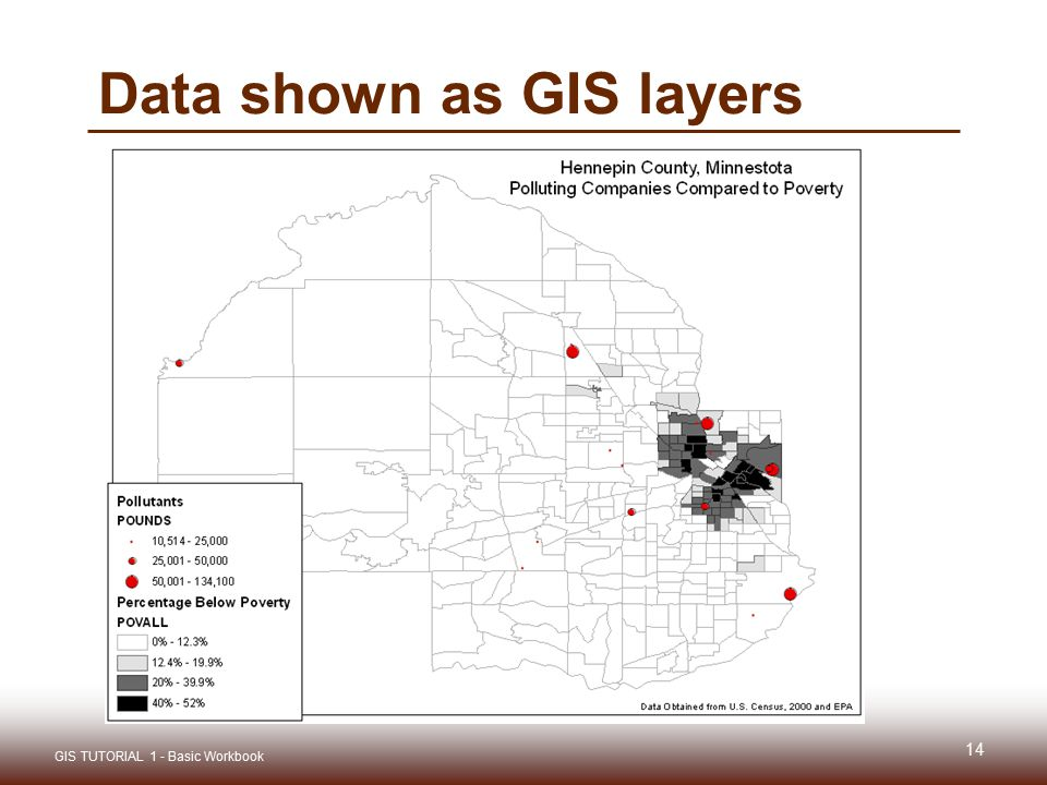 Data shown as GIS layers