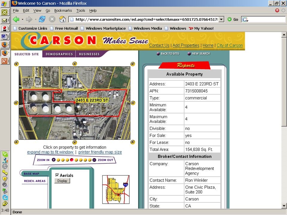A slide from the City of Carson's economic development site, built by ESRI BP GIS planning. It is on line at