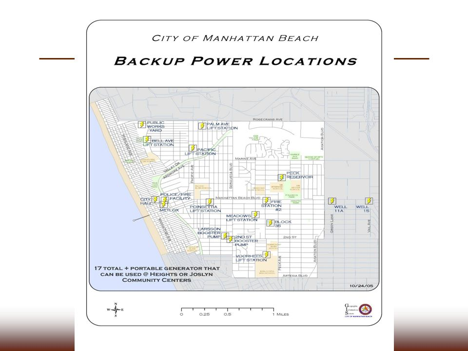 A disaster response map from Manhattan Beach – this would be used to locate back up power stations