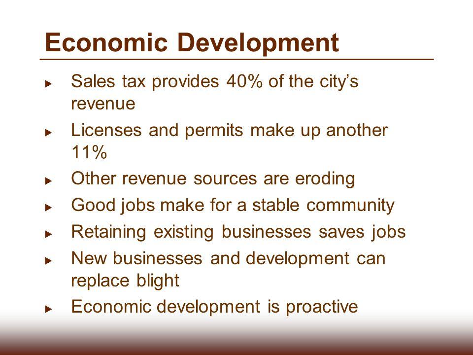 Economic Development Sales tax provides 40% of the city's revenue
